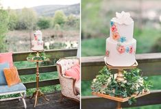 Bohemian hand-painted cake. VINTAGE Bohemian wedding INSPIRATION. Vicki Grafton Photography. Venue: historic farm located at the foot of the Blue Ridge Mountains
