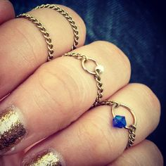 DIY Dainty chain and bead knuckle rings.