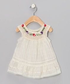 This Pin was discovered by Lin Crochet Toddler Dress, Baby Girl Crochet, Crochet Baby Clothes, Infant Dresses, Toddler Girls, Infant Toddler, Crochet Yoke, Crochet Fabric, Toddler Fashion
