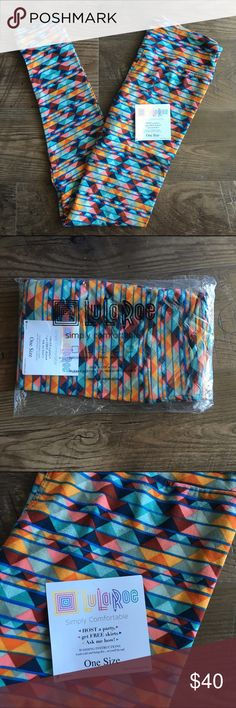 NWT OS LuLaRoe leggings LuLaRoe One Size buttery soft leggings in multi color pattern. Colors include: multiple shades of blue, orange, and pink. Never worn! Made in Vietnam. Price firm, just trying to make back what I paid. LuLaRoe Pants Leggings