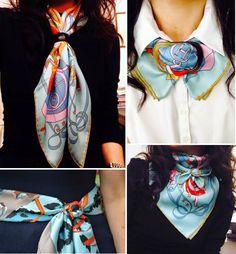 Ideas how to wear pashminas scarf knots Ways To Tie Scarves, Ways To Wear A Scarf, How To Wear Scarves, Square Scarf How To Wear A, Square Scarf Tying, Scarf Necklace, Scarf Jewelry, Scarf Knots, Diy Fashion