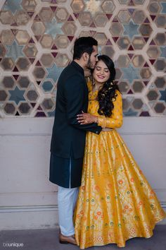 This Jaisalmer wedding was meticulously planned by the bride Couple Photoshoot Poses, Pre Wedding Photoshoot, Yellow Gown, Yellow Lehenga, Surprises For Her, Wedding Mandap, Bride Photography, Chic Dress, Indian Bridal