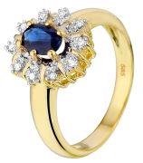 14karaat geelgouden ring met diamant en saffier