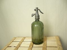 Very rare Vintage Romanian Dark  Green Seltzer by VINTAGEAMBIENTAL, $49.00