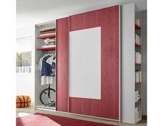 Penderie design blanc et rouge adolescent NATHEO 2 Armoire Design, Bathroom Medicine Cabinet, Furniture, Home Decor, Products, Wardrobe Closet, White People, Teen, Red