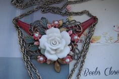 Flower Necklace  OOAK Prom gift One of a kind Gift by BEEBSCLOSET