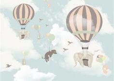 Murale Carta da Parati Hot Air Balloon Elephants