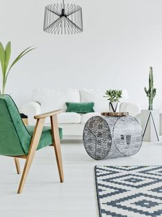 Light home interior with green chair, carpet and sofa Nordic Style, Scandinavian Style, Comfortable Couch, Modern Style Homes, Carpet, Indoor, Stock Photos, Bar, Interior