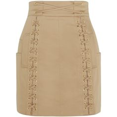 Balmain Lace-up stretch-cotton canvas mini skirt found on Polyvore featuring skirts, mini skirts, balmain, neutrals, beige mini skirt, cotton stretch skirt, short mini skirts and beige skirt