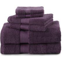 Abundance 6 Piece Towel Set Color: Black Plum (67 CAD) ❤ liked on Polyvore featuring home, bed & bath, bath, bath towels, 6 piece towel set, martex bath towels, colored bath towels and black bath towels