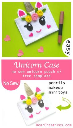 Unicorn Craft - Fun and Easy No Sew Unicorn Pouch DIY   Template | Easy to make unicorn craft with free printable template, and step by step instructions to make your own. Make this for your kids. But, easy enough to be a teen craft project. Fill your unicorn pouch with pencils, makeup or little toys. DearCreatives.com #felt #pouch #pencilcase #nosew #unicorn #crafts #diy #freetemplate