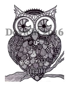 A Clockwork Owl  Black and White Zentangle by PrintsCharmingByLisa