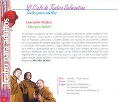 "Lescomic Teatro. ""Ora pro bobis"". Teatro para adultos. VI Ciclo de Teatro Salmantino. 13 marzo 2010"