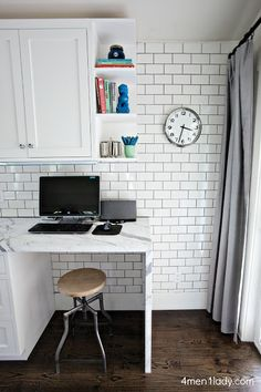 Kitchen, Living, Dining Reveal.  Just try a desk in the corner.