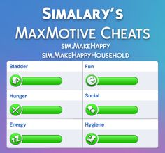 MaxMotive Cheats Satisfy Your Sims Needs! by at Mod The Sims via Sims 4 Updates The Sims, Sims Cc, Sims Mods, Sims Traits, Sims 4 Cheats, Sims 4 Cc Eyes, Sims Baby, Sims 4 Blog, Game Info