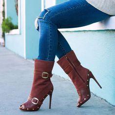 Shoespie Peep Toe Dark Brown Stiletto Heel Ankle Boots