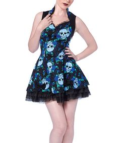 Look at this Blue Skulls & Roses Sweetheart Dress on #zulily today!