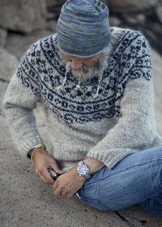 """""""Steinkriger"""" means strong warrior (stone warrior) in Norwegian. KNITTING PATTERN- PDF for a warm Nordic sweater. Knitted with beautiful and durable i Nordic Pullover, Nordic Sweater, Men Sweater, Fair Isle Knitting Patterns, Sweater Knitting Patterns, Knit Patterns, Knitting Gauge, Knitting Charts, Free Knitting"""