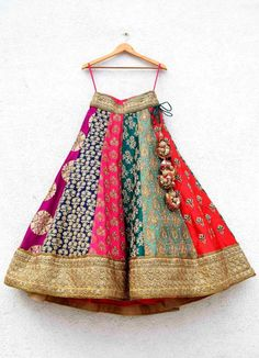 indian designer wear Multi Colour Embroidered Anisha Shetty Lehenga Price: INR Lakhs Summer Pop Colour Combined With Indian Embroideries In Zardosi, Resham, Kundan And Stone Work Baby Lehenga, Party Wear Lehenga, Bridal Lehenga Choli, Indian Lehenga, Banarasi Lehenga, Ghagra Choli, Sharara, Indian Wedding Gowns, Indian Gowns Dresses