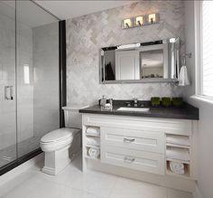 Herringbone Pattern Bathroom Design. This is a bathroom design that you won't get tired of. I am loving the tiling in Herringbone Pattern. #BathroomDesign #HerringbonePattern #TimelessDesign #InteriorDesign