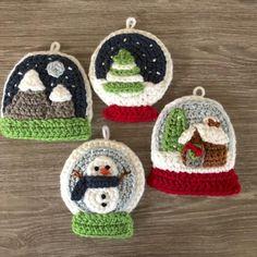 Crochet Toys Design Snow Globe Christmas Ornament Crochet pattern by Amy Gaines - Crochet Christmas Decorations, Crochet Christmas Ornaments, Christmas Crochet Patterns, Holiday Crochet, Christmas Knitting, Crochet Gifts, Cute Crochet, Crochet Motif, Crochet Dolls
