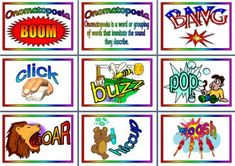 Free Literacy Resource - Examples of Onomatopoeia Display Posters