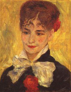 Pierre-Auguste Renoir.  Porträt der Mme. Iscovesco (Porträt einer Rumänin). 1877, Öl auf Leinwand, 41 × 33 cm. Kopenhagen, Ordrupgaardsamlingen. Frankreich. Impressionismus.  KO 01988