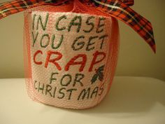 Funny Embroidered Toilet Paper Funny Toilet by BellaBubbleMonster