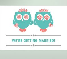 Two Brides Save the Date Postcard - Gay lesbian save the date card - OWL WEDDING collection - blue, pink, grey and white