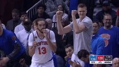 New party member! Tags: basketball nba knicks ooh new york knicks kristaps porzingis porzingis ny knicks bench celebration