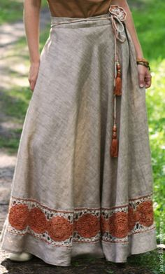 "Buy Linen skirt with lace ""Amber with . - Diana Damaschin Купить Льняная юбка с кружевом ""Янтарный со. Buy Linen skirt with lace ""Amber Dream"" - linen linen, ethno, eco, . Fashion Mode, Modest Fashion, Boho Fashion, Fashion Outfits, Fashion Trends, Trending Fashion, Style Fashion, Linen Skirt, Vintage Mode"