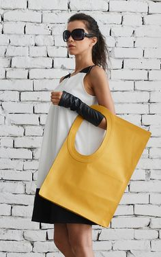 Yellow Large Leather Bag/Extravagant Tote Bag/Square Casual Bag/Genuine Leather Clutch/Modern Everyday Yellow Bag/Large Maxi Handbag/Tote