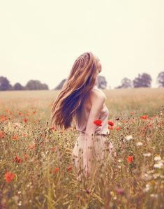 Poppies and woman