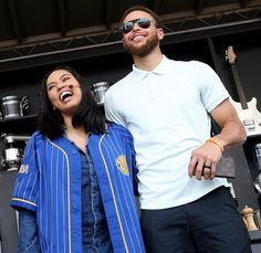 Ayesha Curry and husband Golden State Warriors' Stephen Curry pose following a cooking demonstration at the BottleRock Napa Valley music festival in Napa, Calif., on Friday, May 26, 2017.