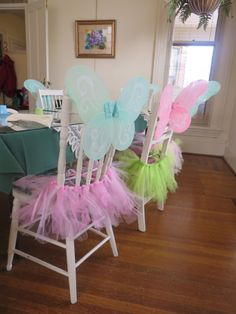 Fairy Chairs Tulle tied to a ribbon and inexpensive wings hooked to the chair - extra party favours