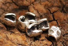 Six Crimp Cover Beads in Sterling Silver