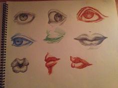 Ojos, bocas  lápiz, sanguina sobre papel