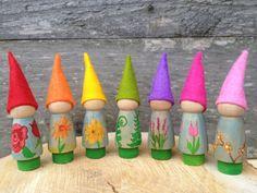 7 Flower Gnomes, wooden peg dolls