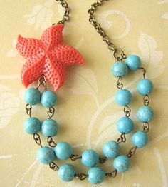 Bridesmaid Jewelry Starfish Necklace Turquoise by zafirenia, $38.00