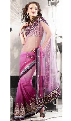 G3 Fashions Shaded Pink Net Embroidered Partywear Saree  Product Code : G3-LS4762 Price : INR RS 5712