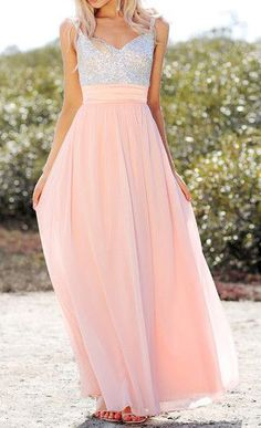 Reminds me of peaches n cream barbie Sequined-Bodice Chiffon Dress