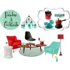 """Fondue & Cocktails"" by nonamecatvintage on Polyvore"