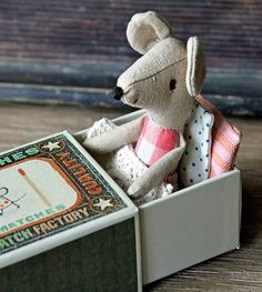 Little cotton mouse snuggled in retro matchbox bed, kids gift/toys, from Splendid Willow Avenue