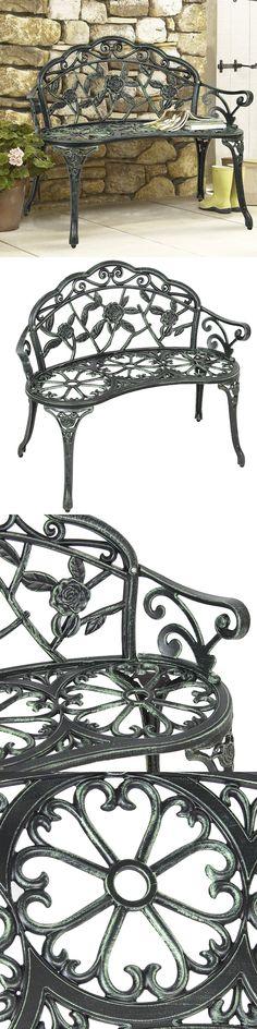 Benches 79678: Patio Garden Bench Outdoor Furniture Cast Iron Porch Chair  Park Seat Yard Deck