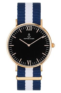 Free shipping and returns on Kapten and Son 'Campina' Nylon Strap Watch, 36mm at Nordstrom.com. A polished, low-profile case and a striped nylon strap comprises a preppy, nautical-inspired watch that's so comfortable to wear you'll forget it's there.