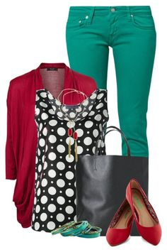 """Red & Turquoise"" by jay-to-the-kay ❤ liked on Polyvore featuring Carhartt, VILA, Emanuel Ungaro, Angela & Roi and Kendra Scott"