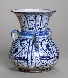 Mosque-lamp-shaped vessel with Arabic inscriptions, Ottoman period (ca. 1299–1923), 1525–40 Turkey, Iznik Stonepaste; painted in blue under transparent glaze. The Art of the Ottomans before 1600
