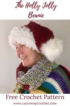 Free pattern. Santa hat or slouchy beanie. Two versions of this christmas beanie. So festive. #christmas #christmasgifts. #christmashats #santahatpattern Crochet Slipper Pattern, Crochet Slippers, Crochet Patterns, Bernat Softee Chunky Yarn, Slouchy Beanie Pattern, Bralette Pattern, Front Post Double Crochet, All Free Crochet, Single Crochet Stitch