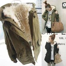 Korean Women Plus Size Long Sleeve Thicken Fleece Hooded Parka Lady Winter Coat Jacket Outwear Green Black ,Size M L XL XXL-in Down & Parkas...