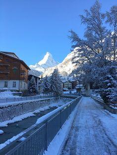 The Matterhorn welcomes you in Zermatt with a fresh white smile! #Zermatt #Matterhorn #snow #ski #winter #Switzerland #SwissAlps